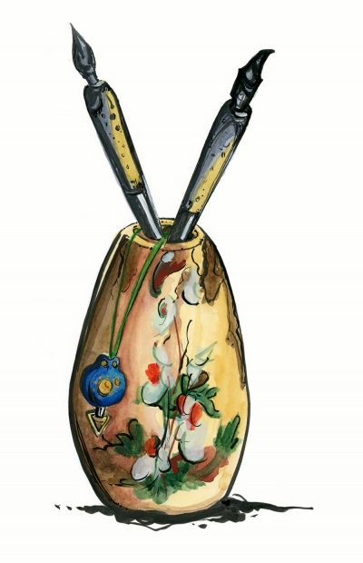 Vase with Ink Pens and Cell Phone Charm